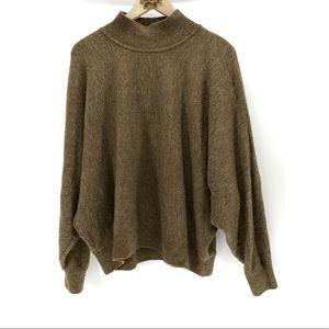 H & M brown mock turtleneck brown batwing sweater